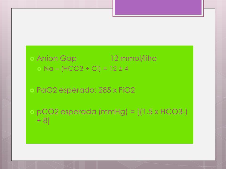 pCO2 esperada (mmHg) = [(1.5 x HCO3-) + 8]